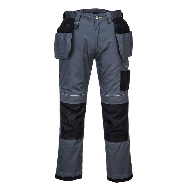 Portwest T602 - Grey/Black  30 Regular PW3 Holster Work Trousers Combat Cargo Pants