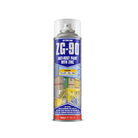 Action Can ZG-90 - Yellow 500ml Cold Zinc Galvanising Spray Paint