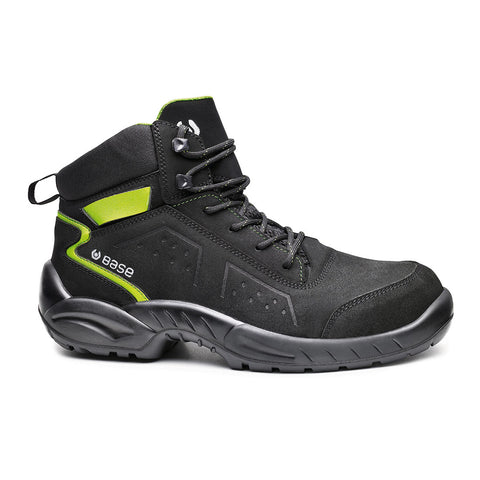 BASE B0177 Safety Boot Shoe Black/Green Chester Top