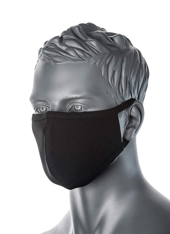 PORTWEST CV22  BLACK 2-Ply Anti-Microbial Fabric Face Mask