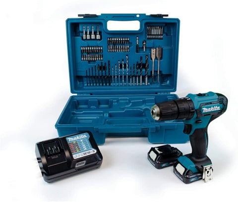 Makita HP333DWAX1 12v CXT Combi Drill with 2 x 2.0ah with 74 Piece Accessory Set