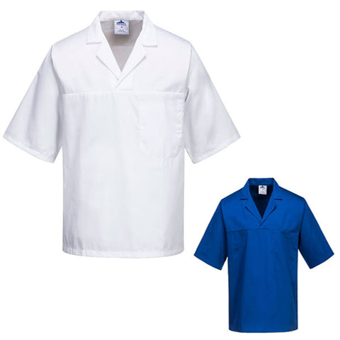 Portwest 2209 - Royal Blue & White Food Industry Short Sleeve Baker Shirt