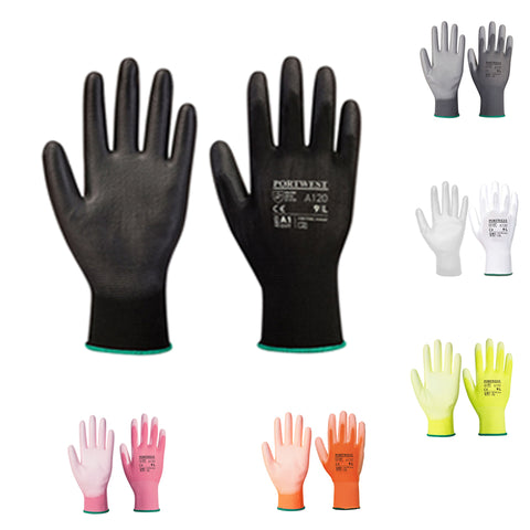 Portwest A120 PU Palm Coated Safety Work Gloves Builders Garden Breathable
