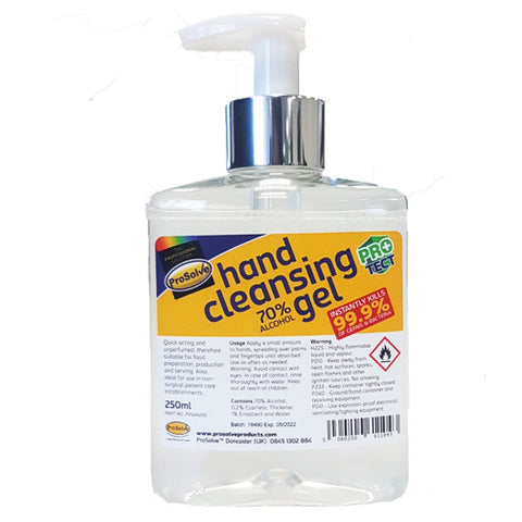 Prosolve Hand Cleansing Gel Sanitiser Clean Protection 250ml Pump Bottle