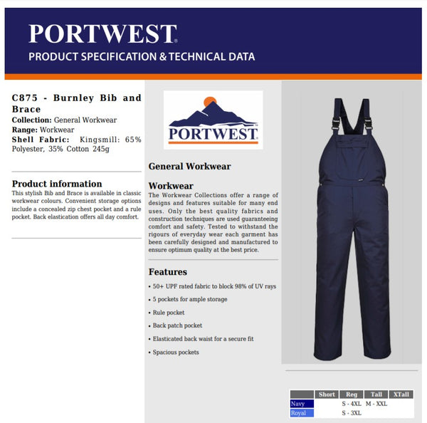 Portwest C875 - Navy & Royal Burnley Bib and Brace Overall Coverall