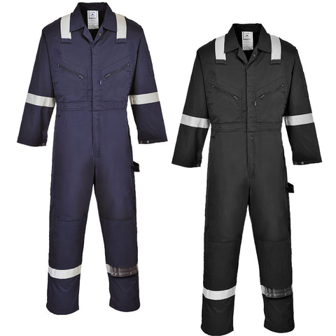 Portwest F813 - Black & Navy Iona Coverall Boiler Suit Hi Vis Bands