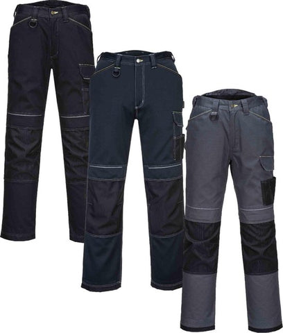 Portwest T601 - Black Navy Grey PW3 Work Trousers Combat Cargo Pants