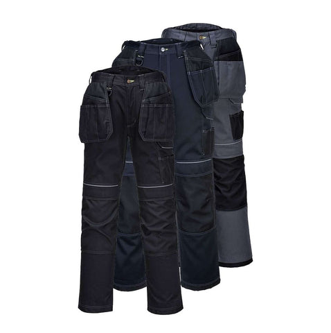 Portwest T602 - Black Navy Grey PW3 Holster Work Trousers Combat Cargo Pants