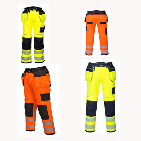 PORTWEST T501 PW3 Hi-Vis Holster Work Trouser SAFETY Knee Pads Pockets Contrast