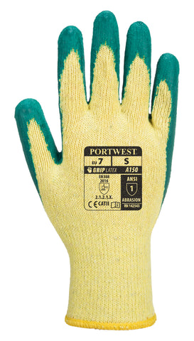 PORTWEST A150 Classic Grip Glove Latex Green Sz Medium M garden work Builder PPE