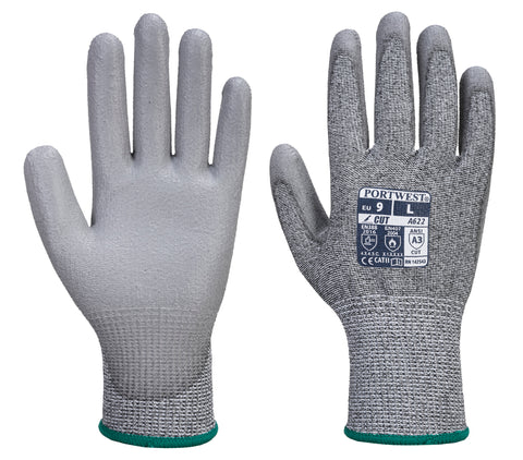 PORTWEST A622 Sz XS to XXXL Level 3 Medium Risk Cut resistant Glove PU Palm