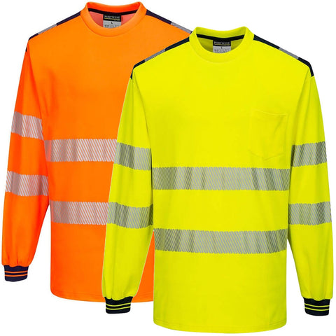 Portwest T185 - Orange Yellow PW3 Hi-Vis T-Shirt Long Sleeved Reflective