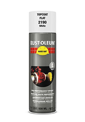 Rust-Oleum Matt White Hard Hat Aerosol Industrial Spray Paint Top Coat 500ml