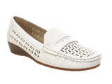 Damen Slipper Keilabsatz Ballerina Loafer Mokassins Slip On Flats Freizeit White # 555-37