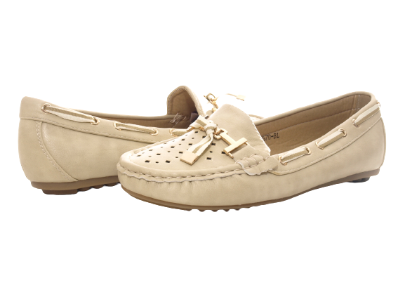 Damen Slipper Halbschuhe Ballerina Loafer Mokassins Slip On Flats Freizeit Beige # 570