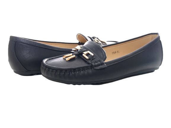 Damen Slipper Halbschuhe Ballerina Loafer Mokassins Slip On Flats Freizeit Black # 954