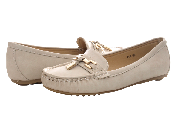 Damen Slipper Halbschuhe Ballerina Loafer Mokassins Slip On Flats Freizeit Beige # 954