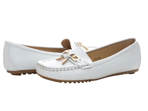 Damen Slipper Halbschuhe Ballerina Loafer Mokassins Slip On Flats Freizeit White # 954