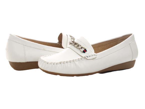 Damen Slipper Halbschuhe Ballerina Loafer Mokassins Slip On Flats Freizeit White # 184