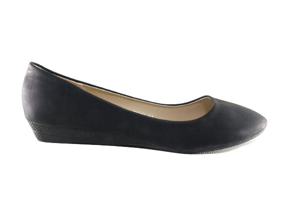 Damen Slipper Keilabsatz Ballerina Loafer Mokassins Slip On Flats Freizeit Black # 8112