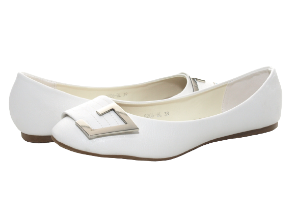 Damen Slipper Halbschuhe Ballerina Loafer Mokassins Slip On Flats Freizeit White # 8206