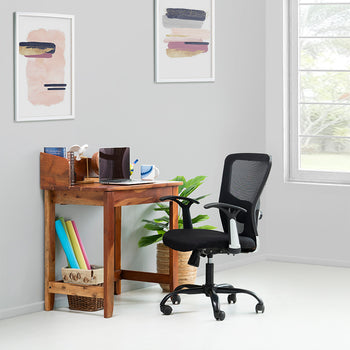 Abbey Teak Finish Solid Wood Compact Workstation Table