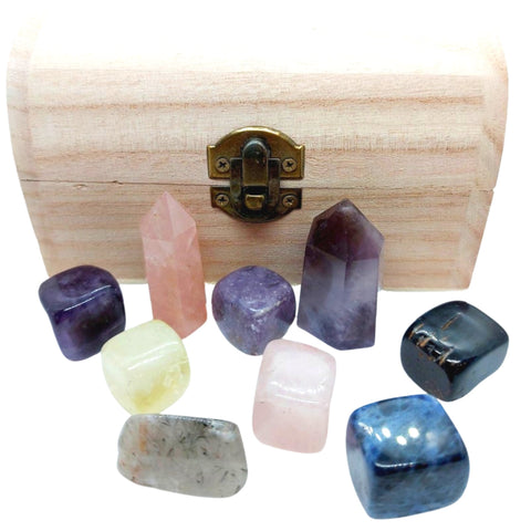 Chakra Reiki Crystal Set in Wooden Chest - 6