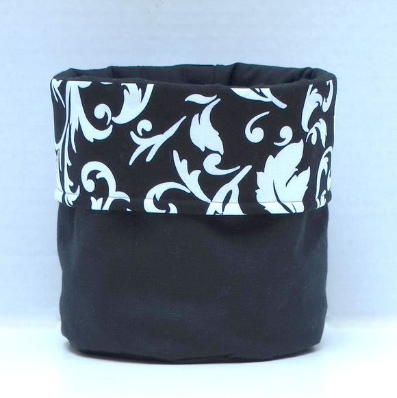 Black & White Leaf Print Bin