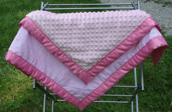 Pink Dotted Print and Pink Minky Blanket