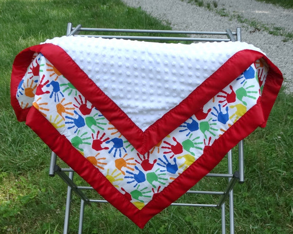 Primary Color Hands Baby Blanket
