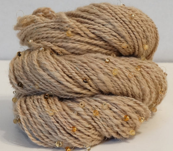 2 Ply with Beads - Handspun Yarn