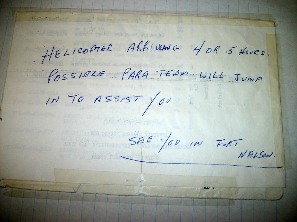 note dropped to the plane accident
