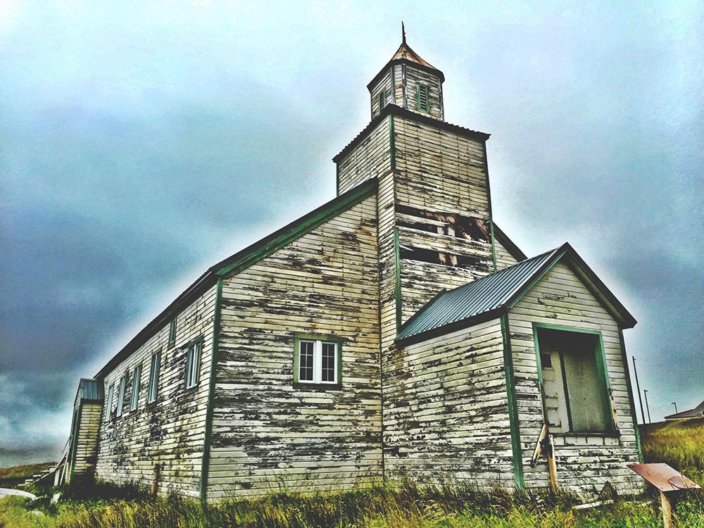 Bering Chapel, located on Bering Hill, it is one of the oldest remaining structures on Adak.