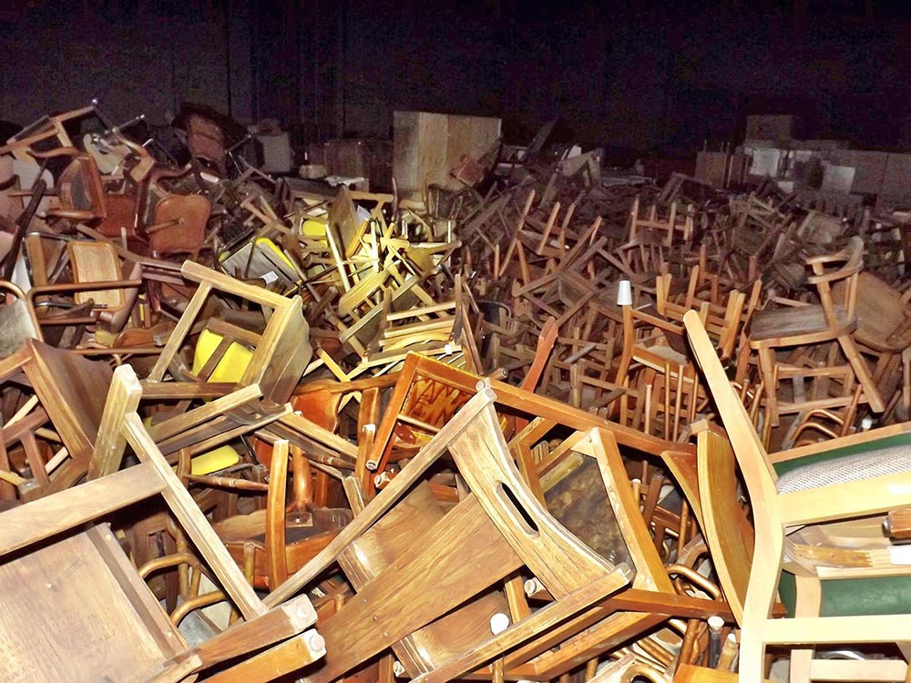 Sea of Chairs - This is the picture that made us go to Adak. We estimated there are 3000 chairs stored in this warehouse.