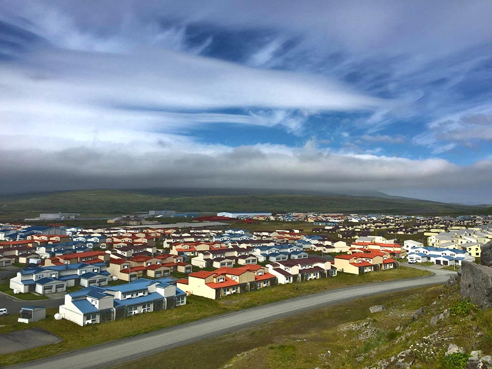 Adak from Above - When we climbed the rocky hill we could see Adak on one side and the ocean on the other.