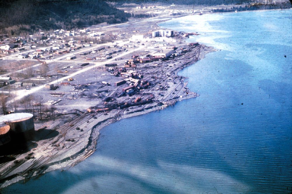 The waterfront at Seward, Alaska, a few months after the earthquake.
