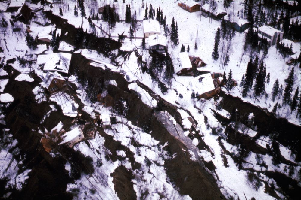 Homes damaged in the Turnagain Heights subdivion