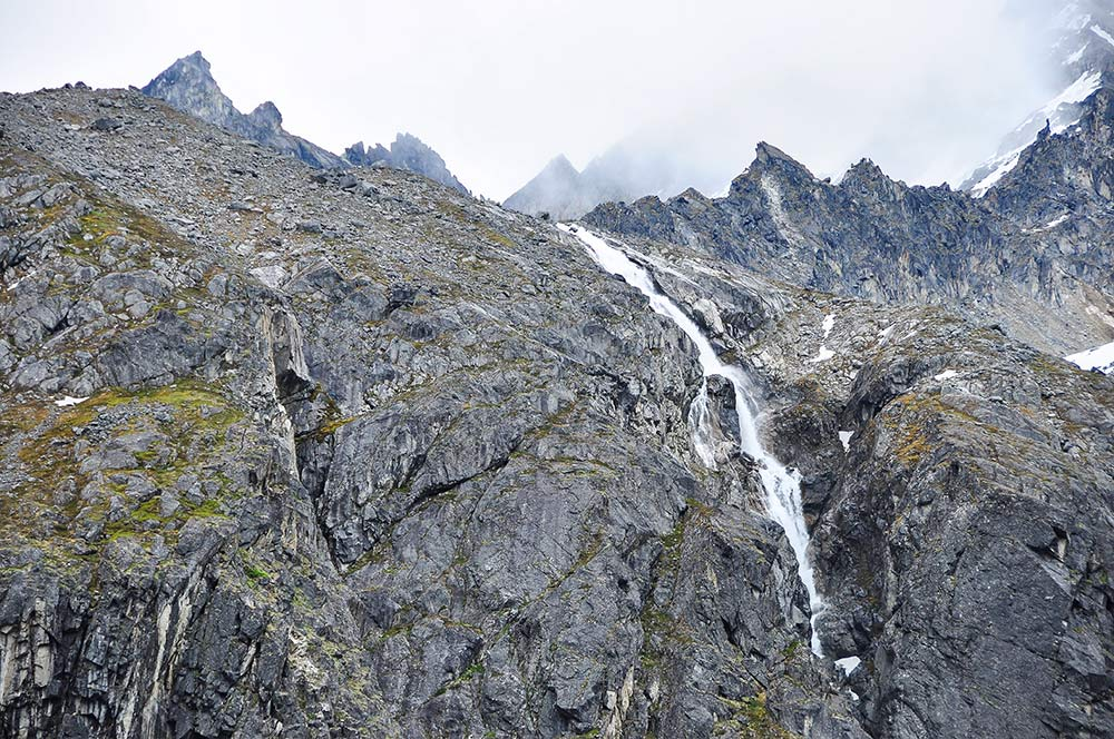 A waterfall dropping nearby the Mint Hut. Photo by Cecil Sanders