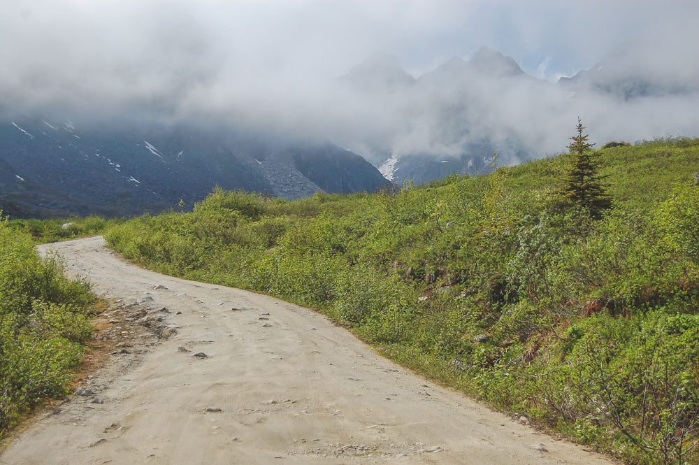 an image of the road leading to the trail head to Lane Hut.