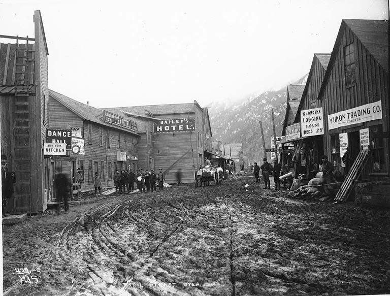 Dyea in the year 1898. Alaska Ghost Towns.