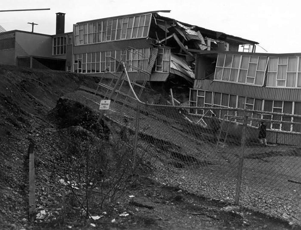 Damage to the Government Hill School in Anchorage.