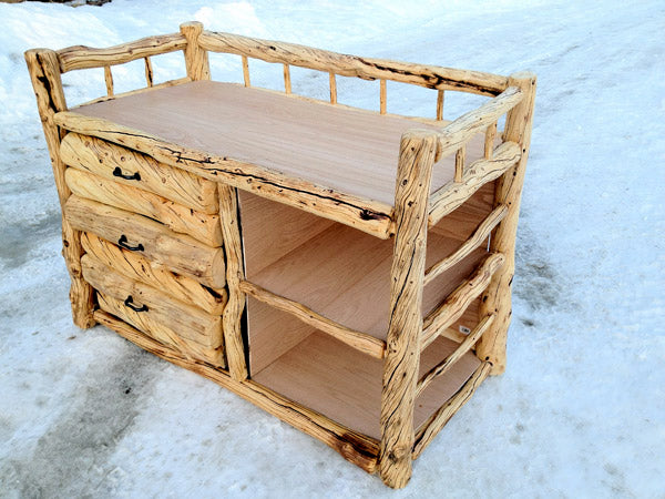 Completed Alaskan Handmade Log Changing table