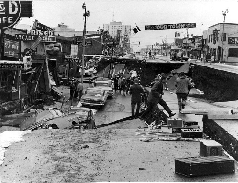 Fourth Ave. in Anchorage after the earthquake ripped up the streets and demolished buildings.