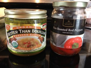 This is the most amazing chicken broth and the red peppers you will be looking for.