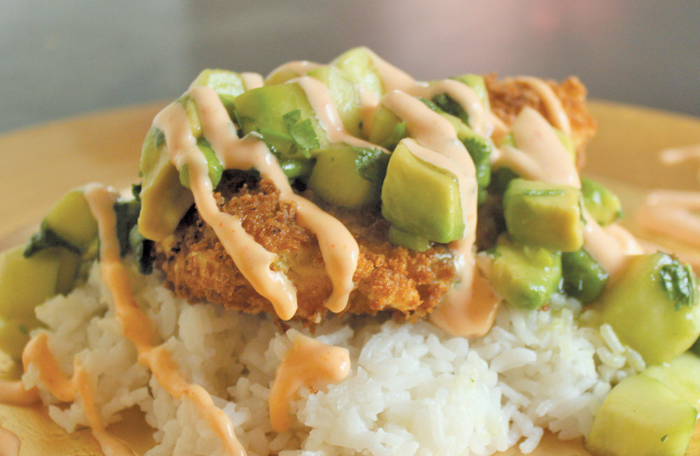 Panko Halibut with Avocado & Cucumber relish and spicy mayo sauce