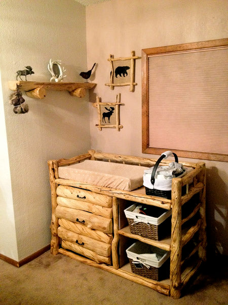 Hand Made Log Changing table