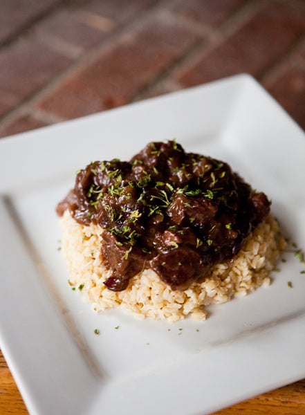 Cranberry moose served over rice