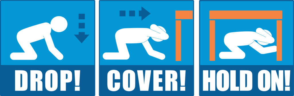 what to do in an earthquake drop cover hold on