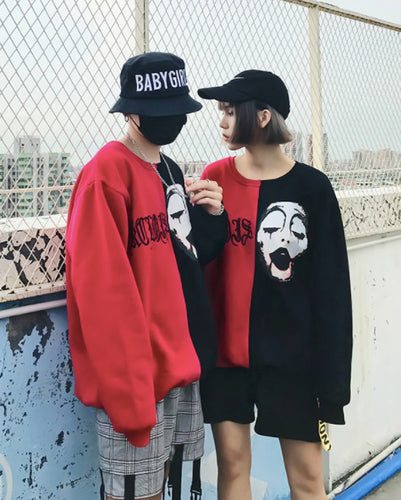 #CP17013 Red x Black Sweater