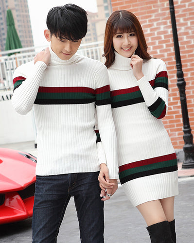 #CP17010 Stripe High-Neck Sweater/Dress
